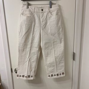 Christopher & Banks NWOT  White Capris with beads